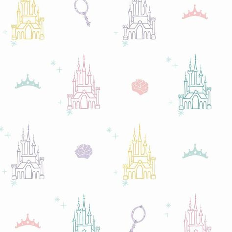 DISNEY PRINCESS CASTLE PEEL & STICK WALLPAPER - white, purple