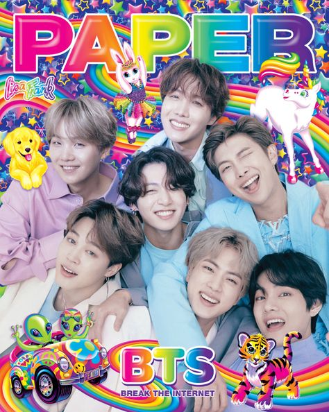 BTS wearing Louis Vuitton on the cover of Paper Magazine, featuring art by Lisa Frank. Lisa Frank, Foto Bts, Kim Taehyung Cute, Boy Scouts, Bts Poster, K Pop, Boy Bands, Bts Cute, Kpop Posters