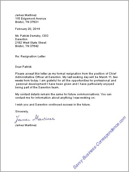 A good example for a letter of resignation You will have to write - basic resignation letter