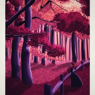 Pink Woods Background Digital Paint Illustration Illustrations Paintings Paint Draw Backgrounds Landscape Sf Forest Painting Background Wood Background