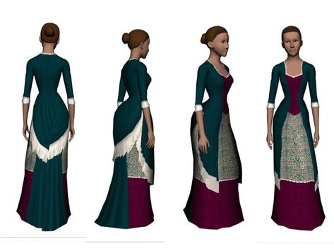 A Victorian gown, with a bustle. Suitable for historical sims, vampires, goths, steampunk and the like. Found in TSR Category 'Sims 3 Female Clothing'