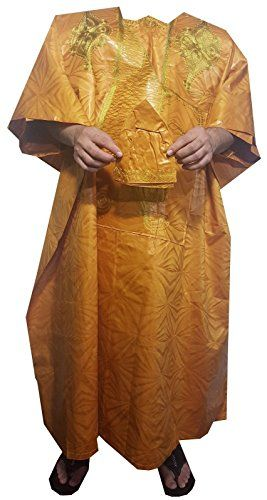 Men Grand Boubou Pant Set Traditional African Brocade Royle Blue Gold Free Size