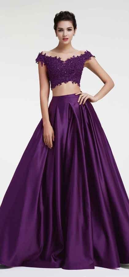 26+ Purple 2 piece prom dress info