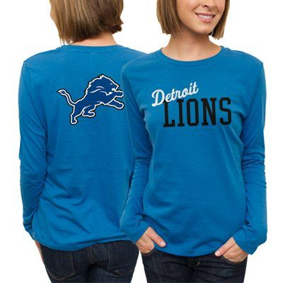 TWO DAYS ONLY: All Ladies & Kids apparel is marked down 15-40% at Fanatics! Get this Detroit Lions long sleeve t-shirt for only $22.06: http://pin.fanatics.com/NFL_Detroit_Lions/on_sale/yes/Detroit_Lions_Ladies_Game_Day_Long_Sleeve_T-Shirt_-_Light_Blue/source/pin-detroitlions-ladies-sale-sclmp