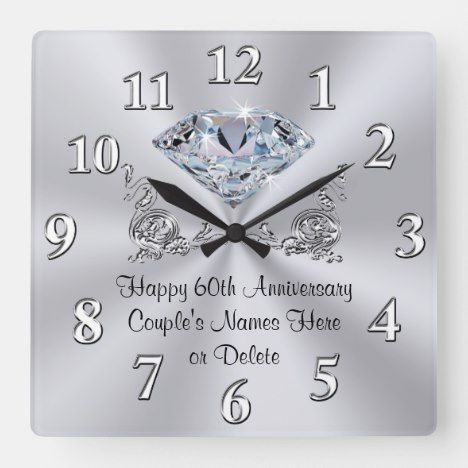 Diamond Personalized 60th Anniversary Gifts Clock Zazzle Com In 2020 60th Anniversary Gifts Anniversary Gift For Friends Diamond Wedding Anniversary Gifts