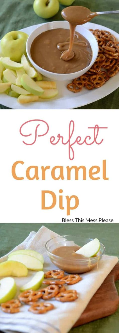 This is the best caramel dip recipe ever. Made on the stove with butter, sugar, and sweetened condensed milk, it's the perfect consistency for dipping pretzels and apples. #carameldip #caramelrecipe #homemadecaramel #caramel #caramelsauce