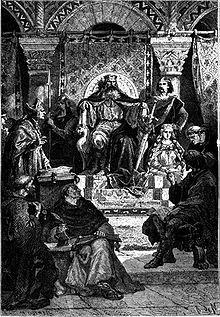 782: Charlemagne présidant l'école palatine, gravure pour l'Histoire de France de François Guizot, par Alphonse-Marie-Adolphe de Neuville, 1883.- CHARLEMAGNE. 5) ASPECTS GENERAUS DU REGNE. 5.6 LA RENAISSANCE CAROLINGIENNE, 12: ALCUIN institue à Aix-la-Chapelle une école palatine pour former les futurs élites laïques et religieuses. Il met en place un vaste programme d'éducation reprenant la structure des 7 arts libéraux de Martianus Capellan Cassiodore, Boèce, transmise par Bède le…