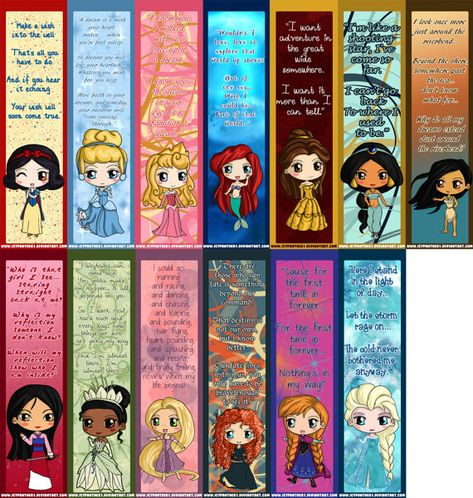 Adorable Disney Princess bookmarks, perfect for your favorite book or fairy tale!    All of the Disney Princess chibis were drawn by me in my unique