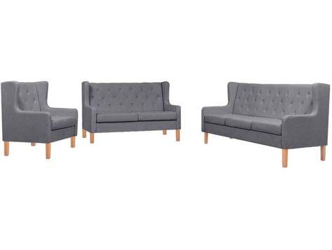 Vidaxl Sofa Set 3 Tlg Stoff Grau In 2020 Sofa Set Furniture