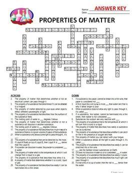 Properties Of Matter Crossword Editable By Tangstar Science Tpt Properties Of Matter Matter Worksheets Photosynthesis Worksheet