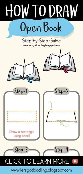 Step By Step Drawing Lesson On How To Draw Book Book Drawing