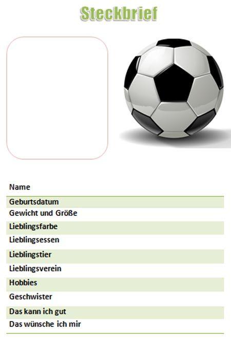 Steckbriefvorlage Fur Jungen Mit Dem Thema Fussball In 2020 Steckbrief Muster Brief Vorlagen