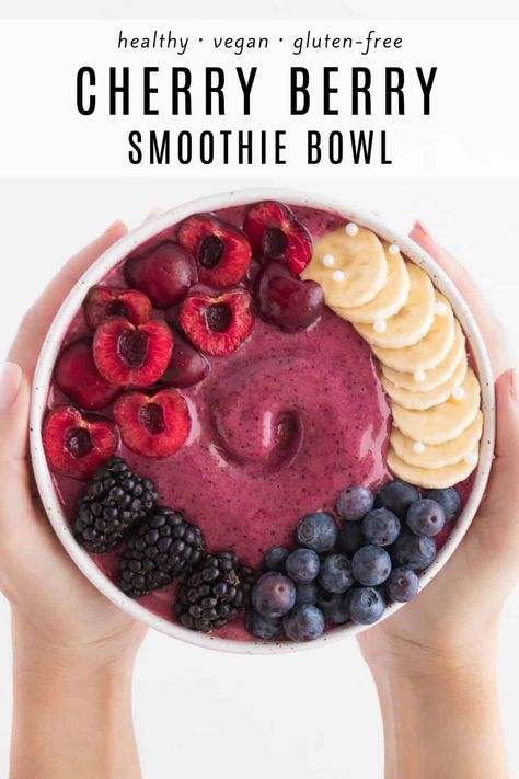Recipes Snacks Vegan This cherry berry smoothie bowl is deliciously sweet and tart! It's packed with fiber and antioxidants from the cherries, blueberries, and chia seeds. Begin your day with this vibrant, healthy, vegan smoothie! Smoothie Fruit, Vegan Smoothies, Smoothie Bowl, Cherry Smoothie, Cherry Drink, Lunch Smoothie, Vegetable Smoothies, Healthy Breakfast Recipes, Healthy Smoothie Recipes