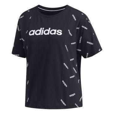 adidas AOP t-shirt dames black white - Adidas vrouwen ...