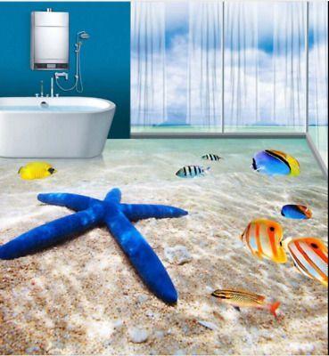 3d Starfish Boden Wandaufkleber Abnehmbare Wandtattoo Pvc Kunst Badezimmer Home Hkm15 Abnehmbare Badezimmer Bode In 2020 Floor Murals 3d Flooring Floor Wallpaper