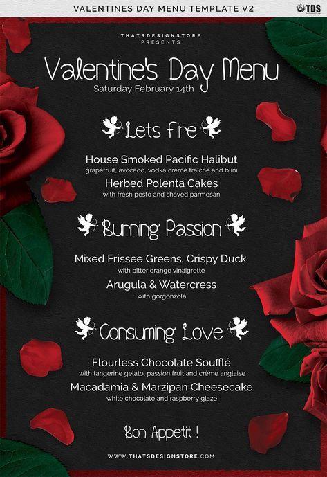 Valentines Day Menu Template V2 Menu Template Valentine S Day Menu Ideas Menu