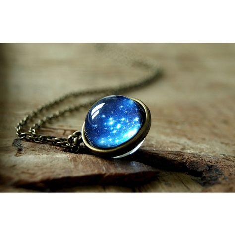 Star night pendant Glob necklace space glass dome necklace Navy blue galaxy