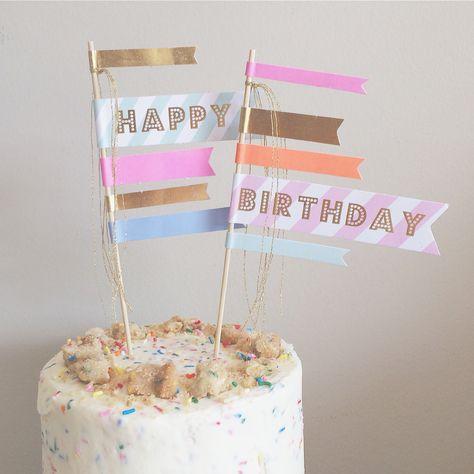 Awe Inspiring Happy Birthday Cake Flags Happy Birthday Cakes Party Stores Funny Birthday Cards Online Necthendildamsfinfo
