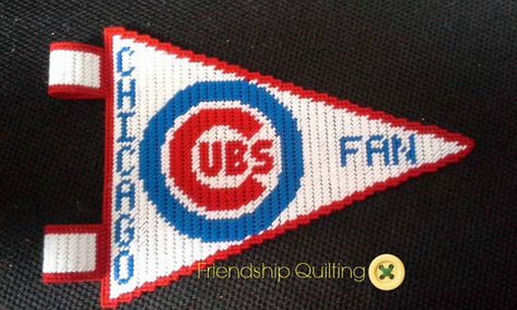 Items similar to Chicago Cubs Plastic Canvas Pennant on Etsy