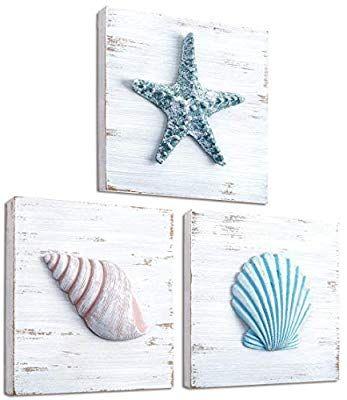 Amazon Com Tideandtales Beach Theme Seashell Wall Decor Set Of 3 Shells And Starfish Beach D Seashell Wall Decor Rustic Coastal Decor Beach Bathroom Decor