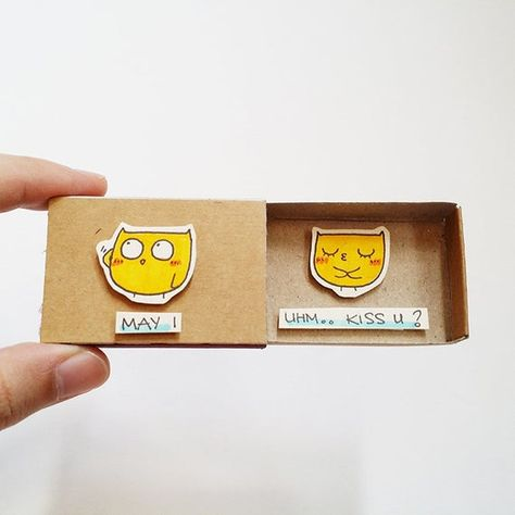 "Witty Proposal Card/ Romantic Cute Love Matchbox/ Cute Yellow Owl Card - Unique Love gift - ""May I"""