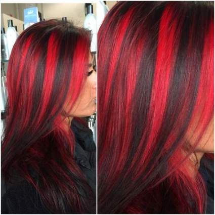 Hair Curly Red Highlights 45 Ideas Brunette Hair Color Red Hair Streaks Hair Streaks
