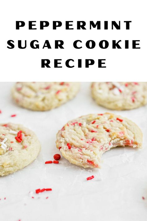 Easy no-chill soft peppermint sugar cookies full of fun and festive sprinkles. The perfect holiday cookie recipe. #christmasacookie #cookierecipe #sugarcookie #bestcookie