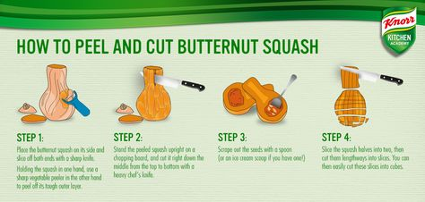 Cutting and peeling a butternut squash can be tricky. Here's our handy how-to guide!