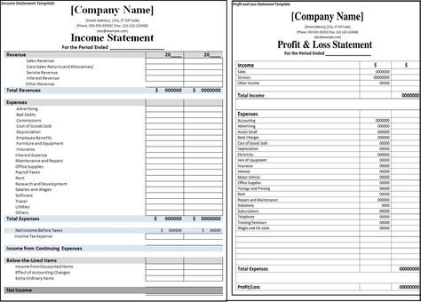 Profit And Loss Statement Vs Income Statement Business financial - personal financial statement template
