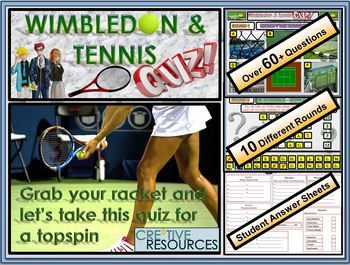 Wimbledon Tennis Quiz 2018 Quiz Over 10 Rounds And 60 Questions Fun Engaging Sports Quiz End Of Term Year Quiz Sports Quiz Wimbledon Tennis Tennis Lessons