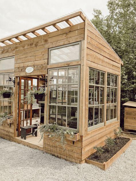 Backyard Greenhouse, Greenhouse Plans, Backyard Landscaping, Window Greenhouse, Backyard Patio, Dream Garden, Home And Garden, Outdoor Spaces, Outdoor Living
