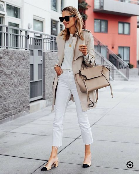 this white monochrome outfit has me ready for spring! Found a trench identical to my old one from Club Monaco - it's the perfect piece to transition into the season.