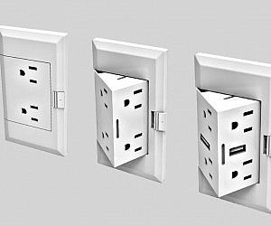 Hide the electrical outlets when not in use by installing these pop out outlets. Their innovative design is perfect for a modern and minimalistic home – when you need them, a simple push from your finger reveals a pop-out outlet cube ready for use. Smart Home Control, Home Technology, Wall Outlets, Electrical Outlets, Cool Inventions, Home And Deco, Creative Home, Future House, Office Decor