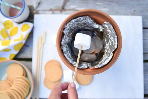 Wimke   Goede ideeën moet je delen!: Marshmallows roosteren in een bloempot