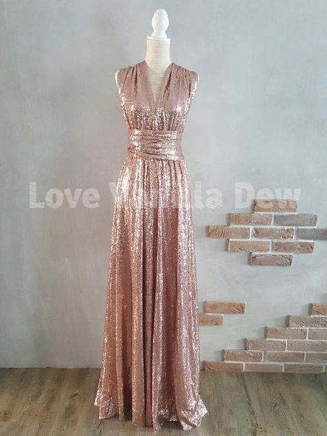 Bridesmaid Dress Infinity Dress Champagne Rose Sequin Floor Length Maxi Wrap Convertible Dress Wedding Dress Maxi Bridesmaid Dresses Knee Length Bridesmaid Dresses Infinity Dress
