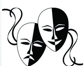 Skull Drama Masks Vinyl Decal Skl097 Etsy In 2021 Theatre Masks Drama Masks Free Clip Art