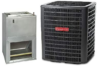 Goodman 1 5 Ton 15 Seer Air Conditioning System With Wall Mount Air Handler In 2020 Locker Storage Air Conditioning System Air Handler