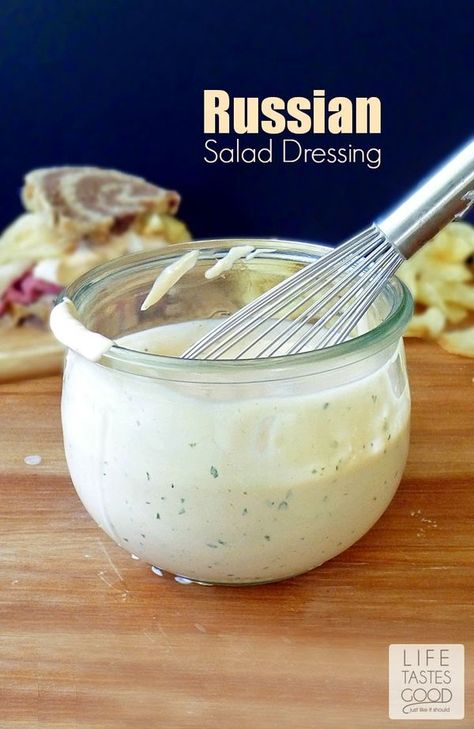 Homemade Russian Salad Dressing | by Life Tastes Good has a pleasantly sharp flavor that livens up a salad, but is most delicious on a sandwich or hamburger too. #RussianDressing #Sandwich