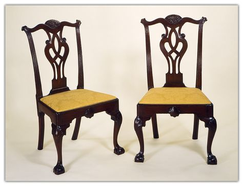 """Outstanding Pair of Chippendale Mahogany Side Chairs each having a serpentine crest with a cabachon carved cartouche & chip-carved knuckle ears, pierced vase-form splat with carved volutes, fluted stiles, molded seat rail, original slip seat frame, a carved shell centering the apron, cabriole legs with shell carved knees ending in ball & claw feet, and retaining a fine mellow patina. Philadelphia, circa 1770. Secondary wood: white cedar. Height 40"""", seat rail height 16 3/4""""."""