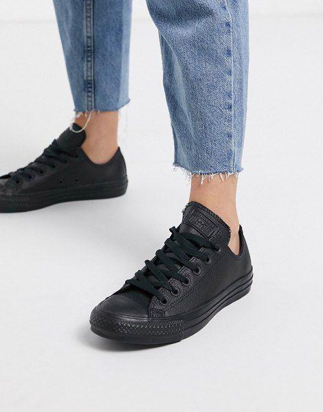 Converse Chuck Taylor All Star Ox Black Leather Monochrome Sneakers In 2020 Black Leather Converse Chucks Converse Leather Converse