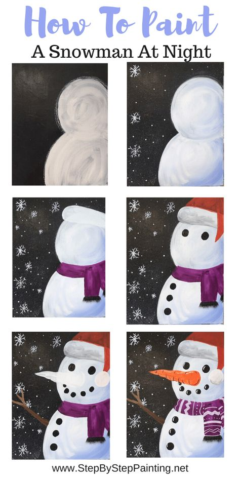 Free Online Step By Step Tutorial &; For Beginners Snwoman Painting &; Free Online Step By Step Tutorial &; For Beginners Manolya Winter Was eine tolle Bastel Idee. […] Painting step by step Snowmen At Night, Navidad Diy, Paint And Sip, How To Paint, Step By Step Painting, Diy Painting, Online Painting, Painting Flowers, Art Painting Tools