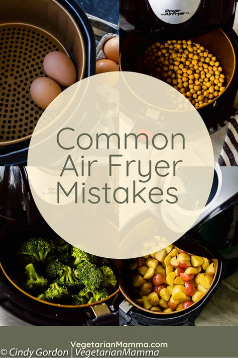 air fryer recipes Common Air Fryer Mistakes - There are air fryer mistakes you could be making. Here are some ways you might be using your air fryer wrong and some delicious air fryer recipes to make things right! Air Fryer Recipes Breakfast, Air Fryer Oven Recipes, Air Frier Recipes, Air Fryer Dinner Recipes, Air Fryer Recipes Gluten Free, Air Fryer Recipes Potatoes, Air Fryer Recipes Vegetarian, Vegetarian Food, Air Fryer Cooking Times