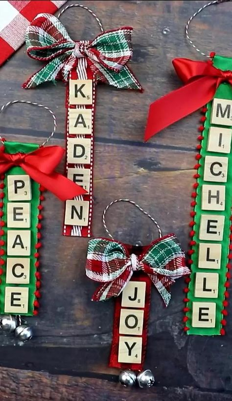 Christmas Personalized Scrabble Letter Ornaments 🎅�🎄