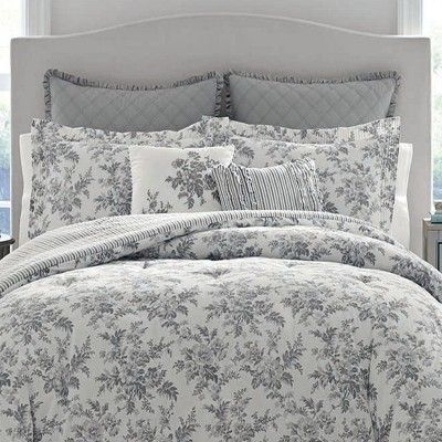 Twin Annalise Floral Duvet Cover Set Gray Laura Ashley Luxury Bedding Master Bedroom Luxury Bedding Duvet Cover Master Bedroom