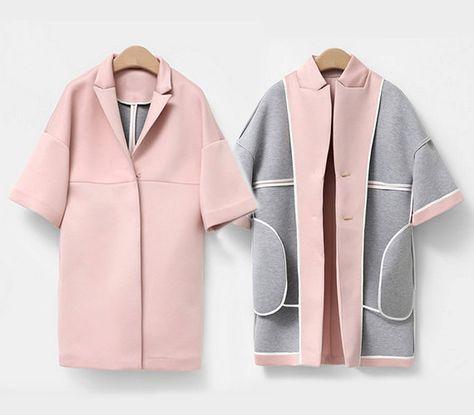 Cocoon shape coat Double-sided neoprene Peaked collar 2 Pockets 100% Cotton coated neoprene  Size S Length: 86cm / 34 Bust: 100cm / 39.3 Hem: