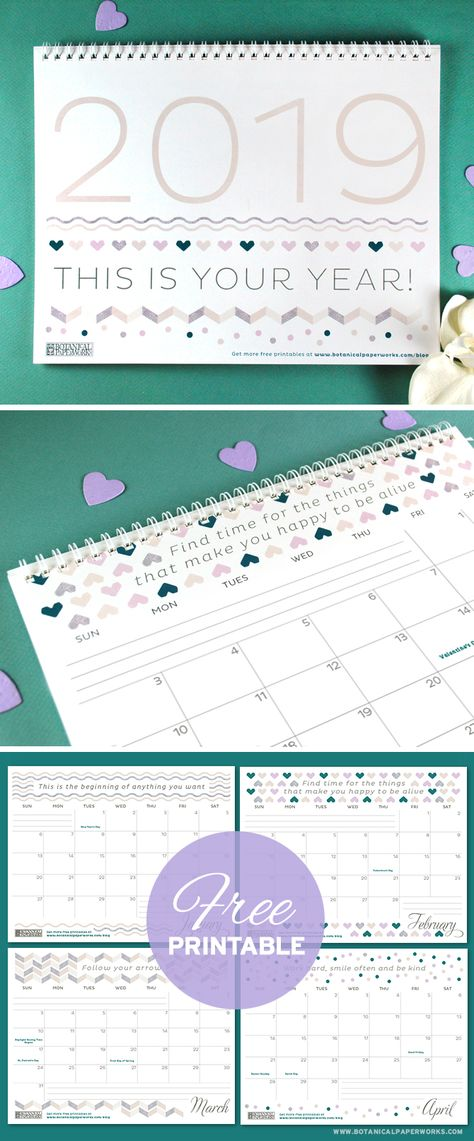 Free Printables 2019 Calendars Stuff Pinterest Free Printable