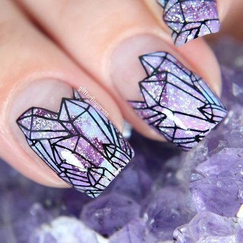 IN LOVEEEEE with cute crystal manicure featuring bundlmonster's newest stamping collection!