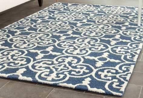 Byron Navy Blue Ivory Tufted Wool Area Rug Rugs In 2019