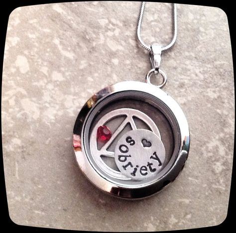 Sobriety Gift, One day at a time, Sobriety, Addiction Recovery Necklace, Sobriety