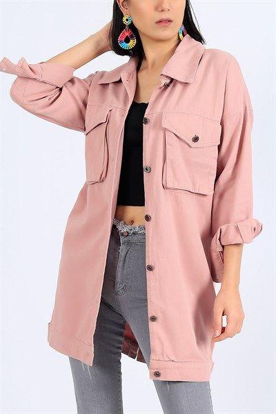 79 95 Tl Pudra Gabardin Uzun Yazlik Bayan Ceket 27104b Modamizbir 2020 Moda Mankenler Giyim